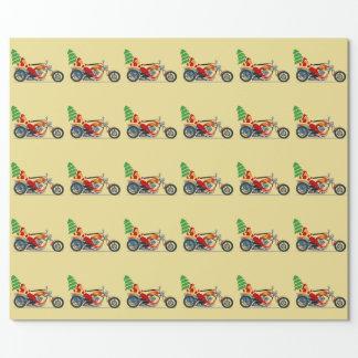 Papier Cadeau Père Noël sur un papier d'emballage de moto