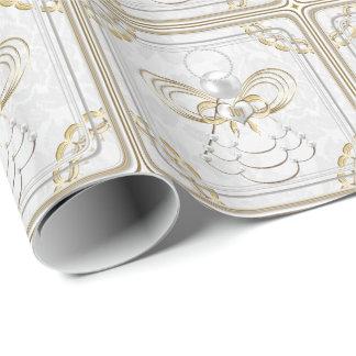 Papier Cadeau Perles et or - ange métallique de Noël de joie
