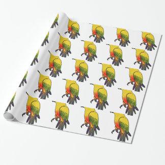Papier Cadeau Perroquet coloré