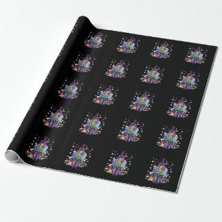 Papier Cadeau Perruches avec le cadeau et les flocons de neige
