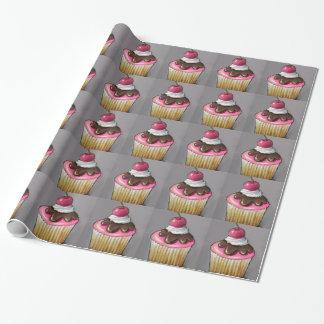Papier Cadeau Petit gâteau avec du chocolat, glaçage rose : Art