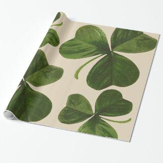 Papier Cadeau Photo botanique de shamrocks sur la couleur faite