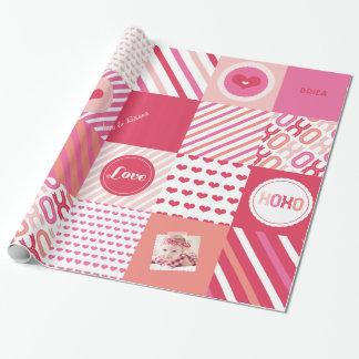 Papier Cadeau Photo douce d'amour de patchwork de Valentine de