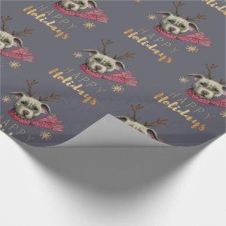 Papier Cadeau Pitbull de renne de Noël avec des polices d'or de