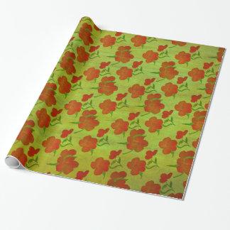 Papier Cadeau Pivoines rouges de tango sur la soie v2 de vert de