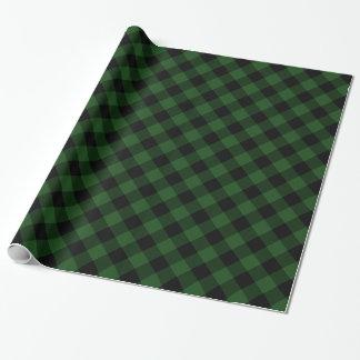 Papier Cadeau Plaid confortable plaid de Buffalo vert et noir de