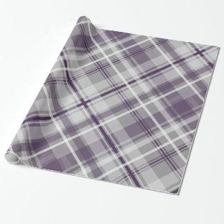 Papier Cadeau plaid gris blanc pourpre modelé
