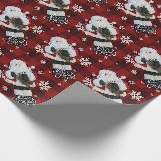 Papier Cadeau Plaid rouge de Buffalo de flocons de neige de Père