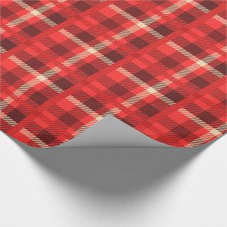 Papier Cadeau Plaid rouge de regard de flanelle