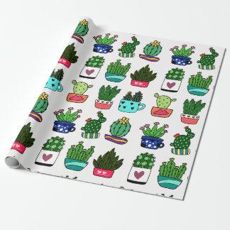 Papier Cadeau Plantes de cactus en papier d'emballage de pot