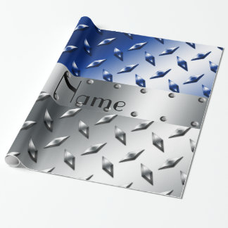 Papier Cadeau Plaque d'acier bleue argentée nommée personnalisée