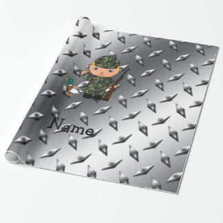 Papier Cadeau Plaque d'acier nommée personnalisée d'argent de