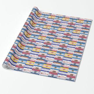 Papier Cadeau Plaques minéralogiques de l'ITINÉRAIRE 66 des USA