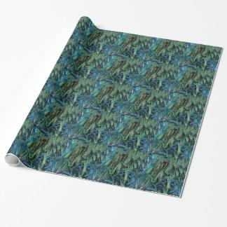 Papier Cadeau Plumes profondes de paon bleu et vert