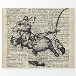 Papier Cadeau Pochoir courant de souris à la vieille page de