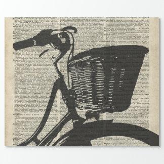 Papier Cadeau Pochoir vintage de bicyclette au-dessus de vieille