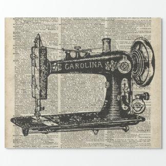 Papier Cadeau Pochoir vintage de machine à coudre au-dessus de