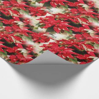 Papier Cadeau Poinsettias de surprise de miroitement