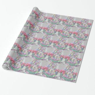 Papier Cadeau Poinsettias roses