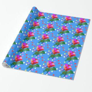 Papier Cadeau POINTS de FLEURS multi : Emballage heureux de