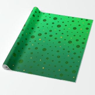 Papier Cadeau Points élégants - or vert - le jour de St Patrick