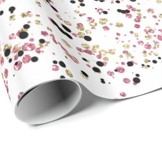 Papier Cadeau Points étincelants de confettis de noir de rose