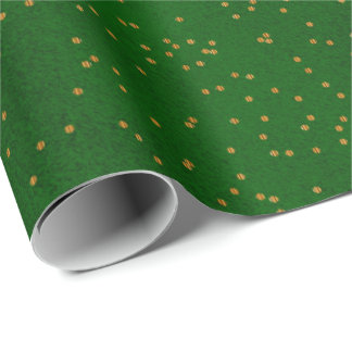 Papier Cadeau Points vert-foncé de confettis d'or de tache