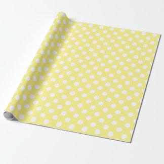 Papier Cadeau Pois blanc sur jaune citron