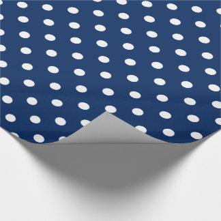 Papier Cadeau Pois blanc sur le bleu marine