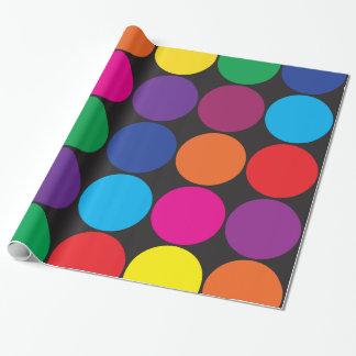 Papier Cadeau Pois coloré audacieux de cercles sur le noir