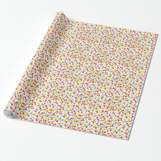 Papier Cadeau Pois coloré sur le papier d'emballage blanc