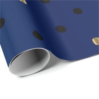 Papier Cadeau Pois de noir et d'or et satin de bleu marine