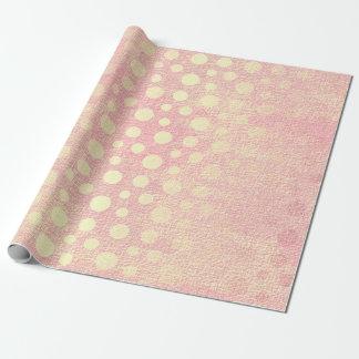 Papier Cadeau Pois d'or en pastel de pêche rose sensible