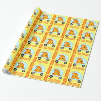 Papier Cadeau Poissons JAUNE de papier d'emballage de 2,0