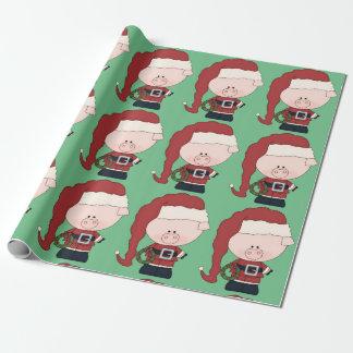 Papier Cadeau Porc Claus de Père Noël