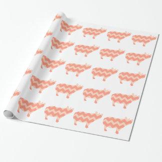 Papier Cadeau Porc de corail mignon de Chevron