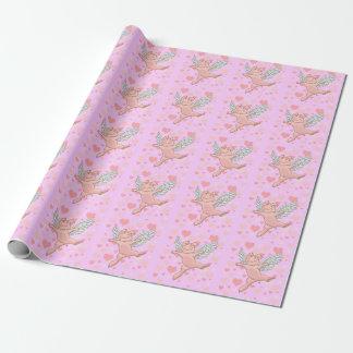 Papier Cadeau Porc de vol et coeurs roses