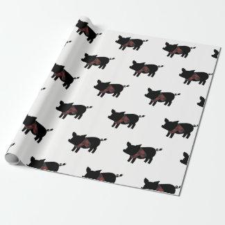 Papier Cadeau Porc rouge de plaid de Buffalo avec l'écharpe