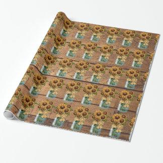 Papier Cadeau Pot de maçon rustique de pays avec le tournesol