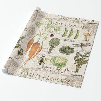 Papier Cadeau potager français vintage moderne