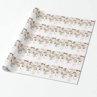 Papier Cadeau Pots de maçon et jolies fleurs