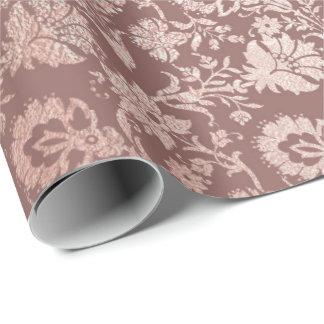 Papier Cadeau Poudre florale de gris de damassé de cottage d'or