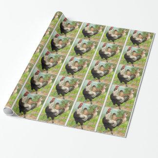 Papier Cadeau Poulet vintage de Faverolles