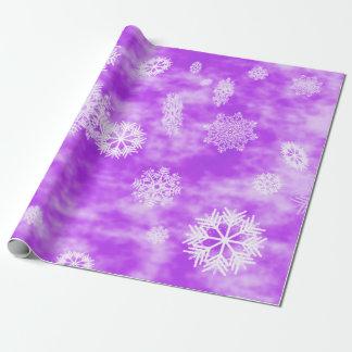 Papier Cadeau Pourpre d'automne de flocons de neige