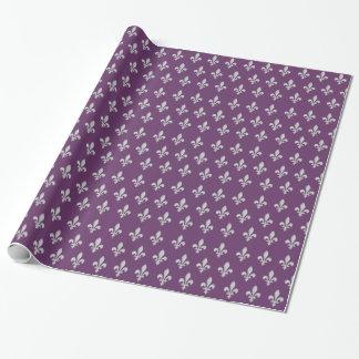 Papier Cadeau Pourpre royal argenté Giftwrap de Fleur de lys