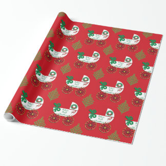 Papier Cadeau Premier boguet de bébé de chariot de Noël du bébé