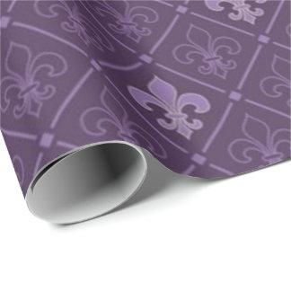 Papier Cadeau Purple Fleur de Lis Pattern