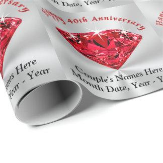 Papier Cadeau Quarantième papier personnalisé d'emballage cadeau