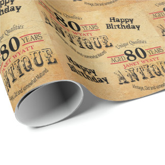Papier Cadeau Quatre-vingtième anniversaire grunge antique de