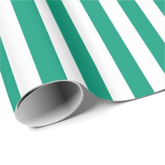 Papier Cadeau Rayure de vert/blanche verte